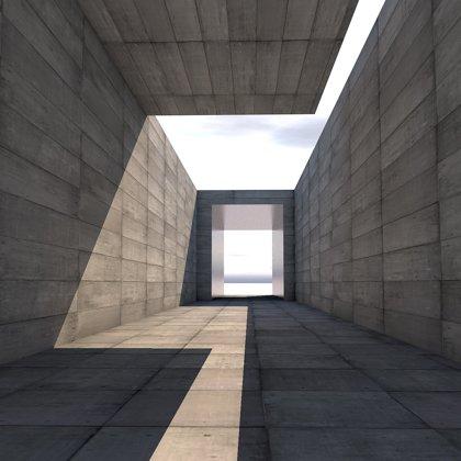 Paprsky slunce a stinné kouty v geometrické stavbě. Podivné místo...